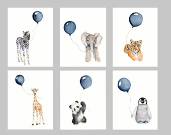 Nursery print set, set of six, Navy nursery, boys wall art, baby boy nursery, watercolor nursery, baby animal art, safari nursery prints,