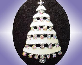White Christmas Tree Holiday Brooch Pin 1990s