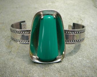 Green Bracelet,Onyx Bracelet,Taxco Silver Bracelet,Vintage Taxco Bracelet,Signed Bracelet,Mexican Bracelet, Modern Bracelet,Taxco Jewelry