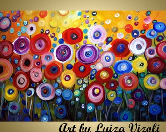 Original Abstract Whimsical Oil Painting HAPPY Flowers by Luiza Vizoli MADE to ORDER