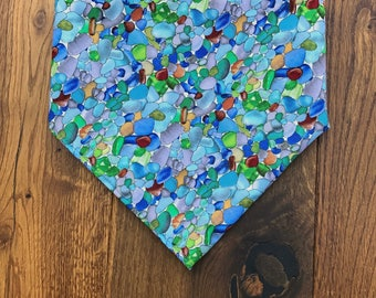 Blue Sea Glass and Pebbles Bandana