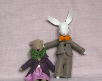 Oliver Rabbit - Handmade Felt Rabbit - Stuffed Rabbit