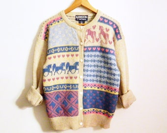 Vintage Wool Horse Cardigan / Tiny Hearts and Horses Sweater / Vintage Wool Equestrian Sweater