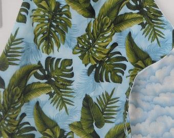 Tropical or coastal chef apron, green, blue