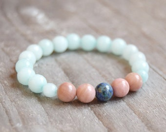 Rhodonite Amazonite Bracelet Mala Bracelets Beaded Bracelets Healing Bracelets Healing Crystals
