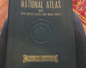 Antique 1937 National Atlas with New United States and World Maps