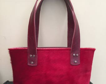 Red hair On Hide Leather Handbag