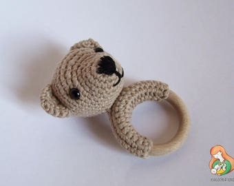 Teething ring teddy bear Beige gift Birth baptism Christmas Babyshower Maternity