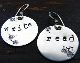 silver earrings round hand stamped engraved read write celebrate literacy