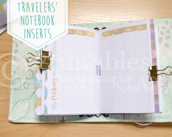 Pocket size TN monthly inserts printable - Travelers' notebook inserts instant download - Month on two pages inserts pocket - Metalic TN