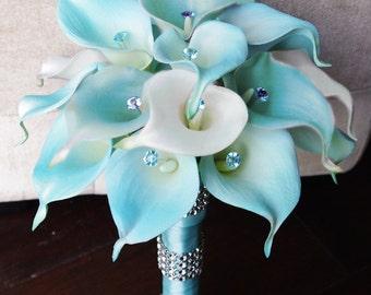 Silk Flower Wedding Bouquet - Aqua or Aruba Blue Calla Lilies Natural Touch with Crystals Silk Bridal Bouquet Mint Robbin's Egg