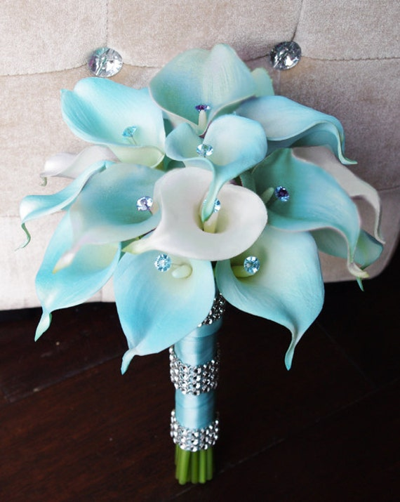 Silk Flower Wedding Bouquet Aqua or Aruba Blue Calla Lilies
