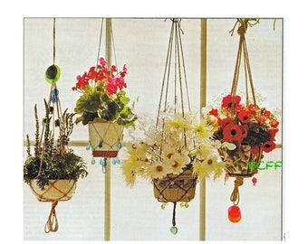 Vintage Macrame Pattern Plant Hangers - 3 Macrame Patterns - Instructions - Knot Guide Instant Download
