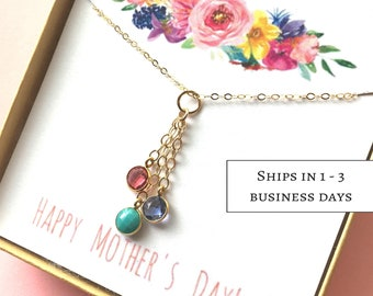 Birthstone Necklace for Mother gift, Family necklace, Family Tree Necklace, Mothers Day Gift, Mothers Birthstone Necklace, mom gift