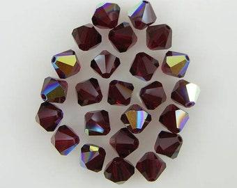4mm Siam AB 5301 5328 Bicone Bead, Swarovski crystal, Crystal Passions®, 4mm Siam ab 5301 5328 Bicone