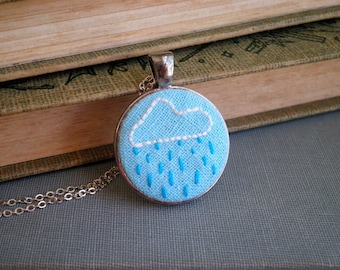 Embroidered Rain Cloud Necklace - Rainy Day Embroidery Necklace - Tiny Cloud Outline & Rain Drop Textile / Fabric Art Jewelry Gift For Her