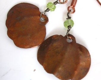 Pumpkin Spice Earrings - Copper Pumpkins and  Peridot