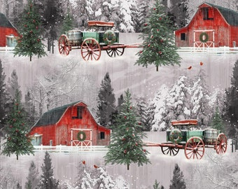 Red Barns Christmas Fabric, Henry Glass Holiday Wishes 6929 86, Retro Christmas Quilt Fabric, Rustic, Cotton
