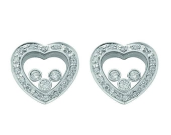 Sterling Silver Trilogy Floating Cubic Zirconia Heart Shaped Stud Earrings