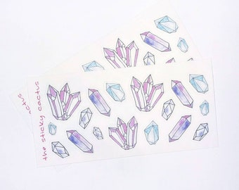 Crystal Doodles Mini Watercolor Stickers