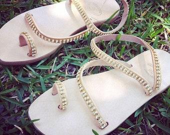 Bridal Luxury Sandals decorated with Swarovski crystals, Greek Leather Sandals, Handmade to order - gladiator sandals, boho sandals - Heleni