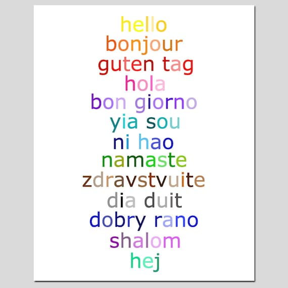 Hello 11x14 typography print with hello in different like this item m4hsunfo