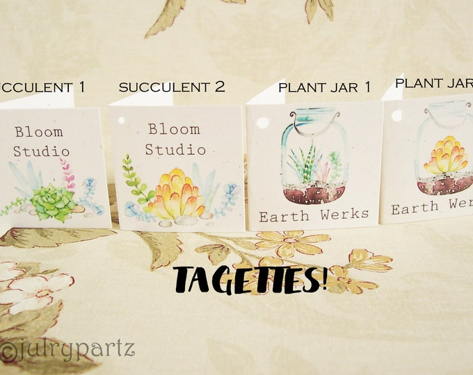 60-TAGETTES•House Plant Mix•Mini Tags•Hang tags•Gift Tags•Favor Tags•Paper Tags•Price Tags•Clothing Tags
