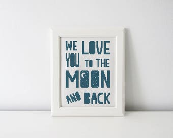 Love you to the moon and back cross stitch pattern - nursery decor - modern cross stitch pattern PDF - Instant download