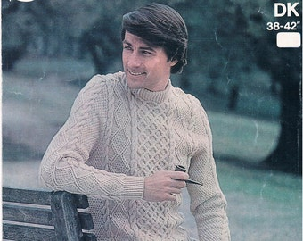 Vintage Knitting Pattern: 1970s Cabled Mens Sweater Digital Copy