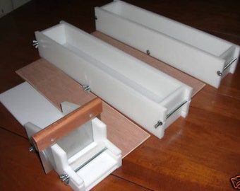 2 hdpe 5 LB Soap Molds,1 Cutter,1 Cutter Blade, 2 Wooden Lids makes 36 Bars E.