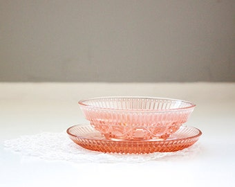 Vintage Blush Pink Glass Bowl and Plate