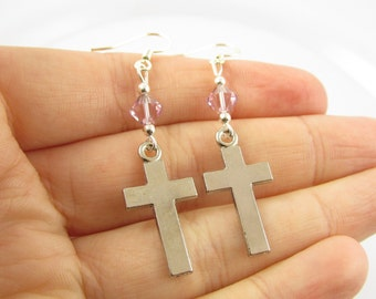 Cross Earrings- choose a birthstone, Cross Jewelry, Silver Cross Earrings, Silver Cross Jewelry, Long Cross Earrings, Cross Birthstone