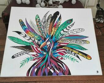 Canvas poscas tropical Peacock bird