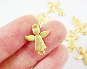 NEW - 8 Mini Angel Charm Connectors - 22k Matte Gold Plated