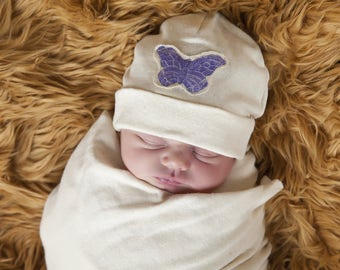 Baby Hat - Natural Color Organic Cotton Hemp Jersey with Hand Stamped Purple Butterfly -  Eco Friendly  - Newborn - Baby Shower