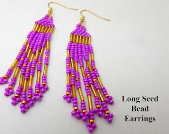 Long Seed Bead Earrings.  Pink and gold beads woven into a long dangle earring. Gift for her. Birthday gift. Friendship gift. Handcrafted.