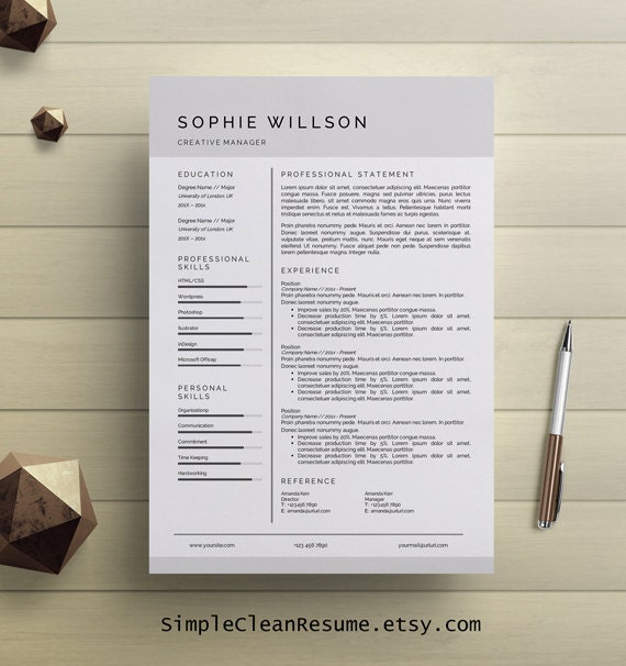 Simple Resume Template Clean CV Design Cover Letter MS Word Professional  Modern Resume Instant Digital Download Mac Or PC Sophie Willson