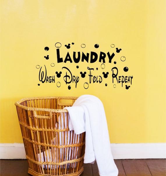 Disney Decor-Disney Decals-Laundry Room Decor-Wash Dry Fold