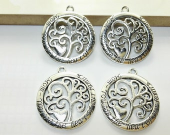 10 pcs Tree of Life Pendants  ,Tree of life Charms  ,Wish Tree   Charms  Mum You are the heart of our family