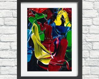 Shoe Painting Print, Fashion Print, Fashion Illustration, Wall Art