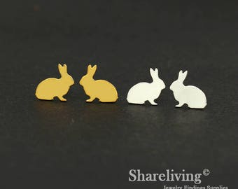 4pcs (2 Pairs) Silver, Golden Rabbit Stud Earring, Nickel Free, High Quality Brass Earring Post - ED451