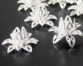 Brass Silver Bead Cap 10 Filigree Vintage Bright Shiny Flower 3 Tiered Layer Bendable 16mm (1087cap16s1)xz
