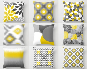 Throw Pillow Covers Yellow Grey White Couch Cushion Covers Home Decor Living Room Pillow Throw Pillow Covers Decorative Pillows