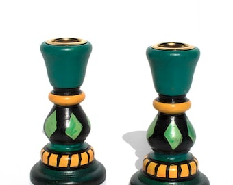 Green Candlesticks - Pair of Whimsical Handpainted Wood Candlesticks - Hand Painted Wooden Candle Holders - Shabbat, Wedding Gift
