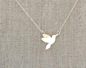Silver Humming Bird - Sterling Silver - Bird in Flight Necklace