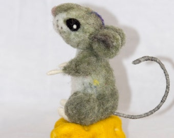 Needle Felted Mouse on a chunk of Cheese Wool Felted Mouse Unique gift