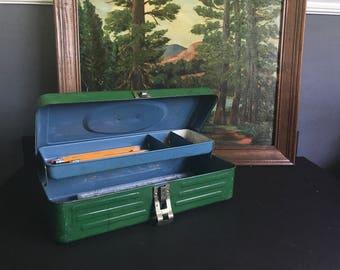 Green tool box, vintage tool box, retro toolbox, vintage metal tackle box, 12 inch measure