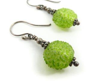 Vintage, Green Glass Earrings, Dangles, Sterling?, STG114
