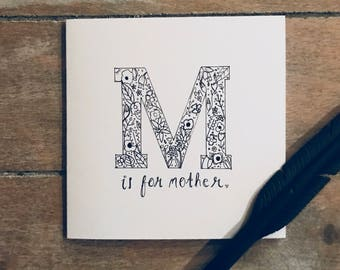 M is for mother greetings card