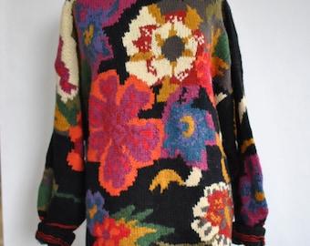 Vintage OVERSIZE FLOWER PATTERN women's sweater , fashion sweater.....(022)